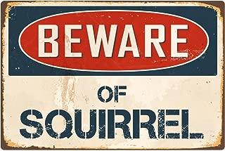 """StickerPirate Beware Of Squirrel 8"""" x 12"""" Vintage Aluminum Retro Metal Sign VS401"""
