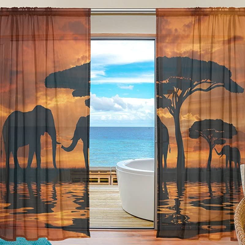 SEULIFE Window Sheer Curtain African Animal Elephant Tree Sunset Voile Curtain Drapes For Door Kitchen Living Room Bedroom 55x78 Inches 2 Panels