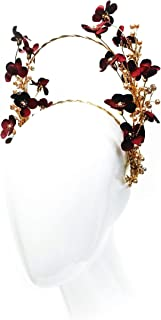 """Cherry Blossom"" - Red Leaf & Gold Custom Double Headband"