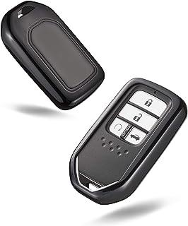 TOMALL Schlüsselanhänger Abdeckung, weiches TPU, Smart Key Fob Cover Protector für 2015 2016 2017 2018 2019 2020 Honda Civic Accord Pilot CR V CRV Silikon 5 Tasten Schlüsselanhänger Cover schwarz