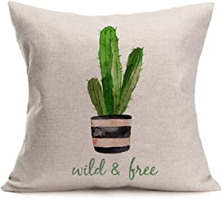 Smilyard Succulents Cactus Pillow Covers Cotton Linen Quote Decorative Throw Pillow Case Cushion Cover 18X18 Inches (Wild & Free)