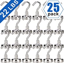 Heavy Duty Magnetic Hooks, Strong Neodymium Magnet Hook for Home, Kitchen, Workplace, Office and Garage, Hold up to 22 Pounds,25pack