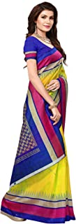 Pakistaniart Silk Kalamkari and Bhagalpuri Style Saree with Blouse Piece BELA Yellow
