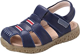 GAXmi Closed Toe Leather Fisherman Sandals for Toddler Little Kids Baby Boys Girls