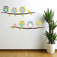 Cartoon Cute Six Owl on the Tree DIY Wall Wallpaper Stickers Art Decor Mural Kid's Child Room Decal waterproof by Himanjie