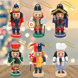 3 otters Christmas Nutcracker Ornaments Set, 6PCS Collectible Wooden Christmas Nutcracker for Christmas Decor, 4 Inch Tall