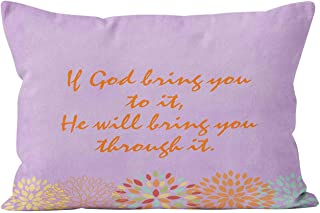 Suklly Funny If God Brings You to It Christian Quote Hidden Zipper Home Decorative Rectangle Throw Pillow Cover Cushion Case Boudoir 12x20 Inch One Side Design Printed Pillowcase