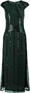 1920s Long Prom Dresses Cap Sleeve Beaded Sequin Maxi Evening Party Dress