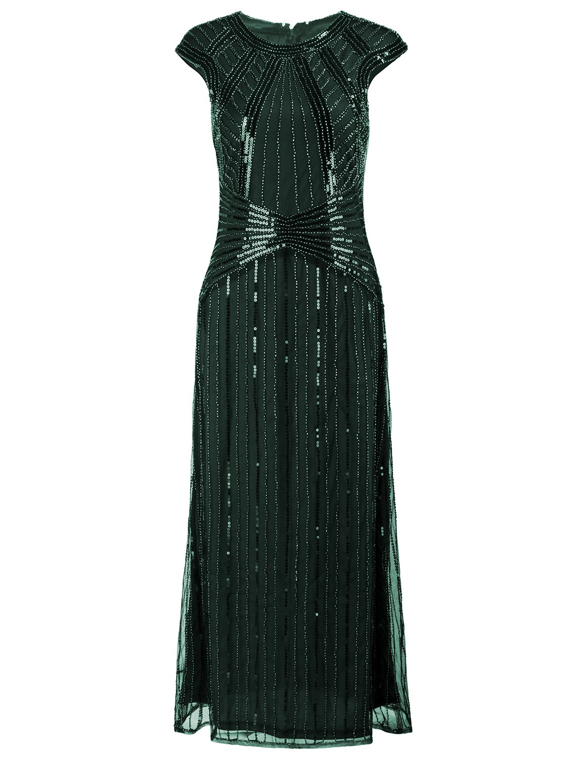 Available at Amazon: VIJIV 1920s Long Prom Dresses Cap Sleeve Beaded Sequin Maxi Evening Party Dress