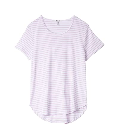 Three Dots Cotton Modal Short Sleeve Stripe Tee (White/Orchid) Women