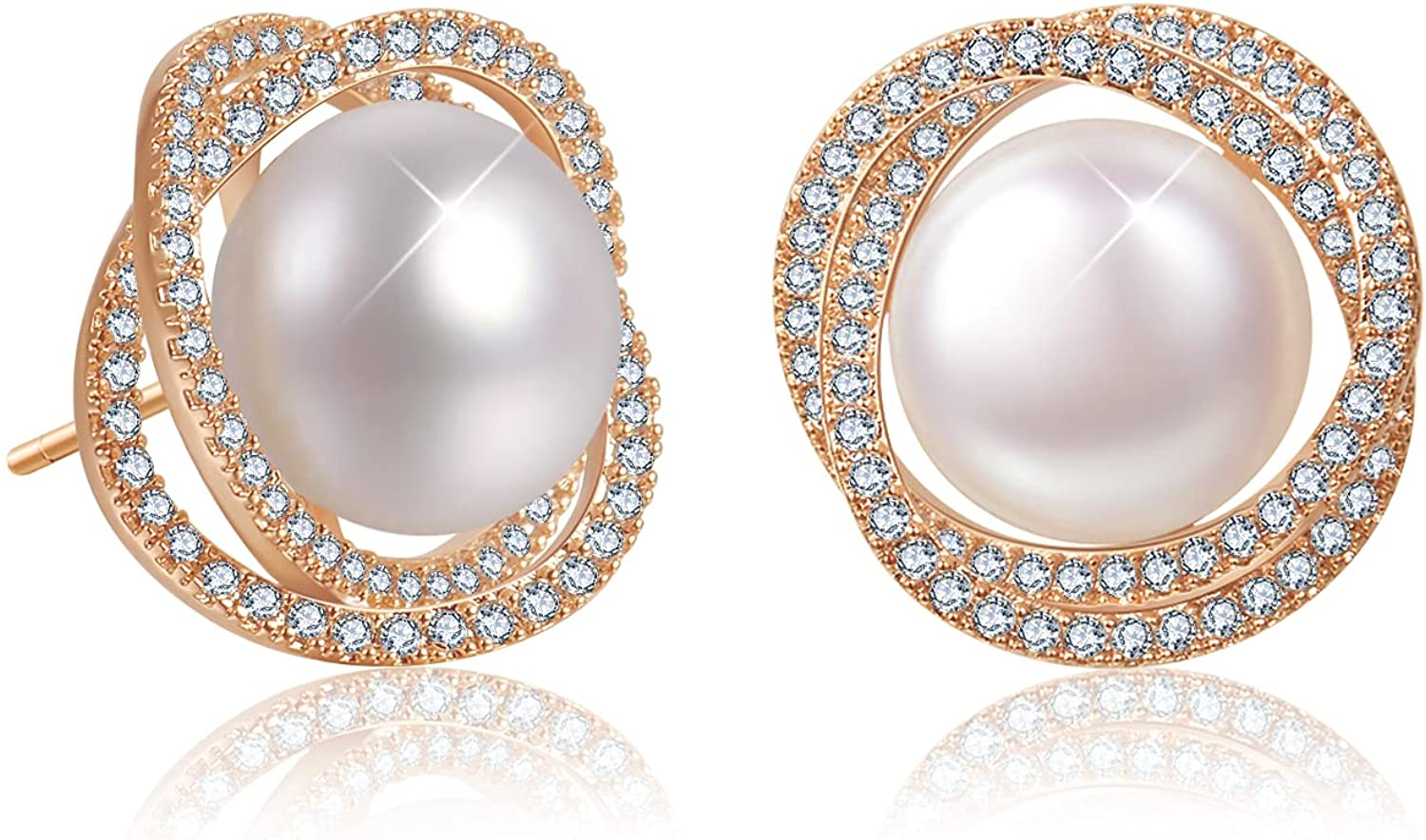 EYESHOCK Pearl Earrings for 10-11mm Max 81% Time sale OFF Women Freshwater Cubic