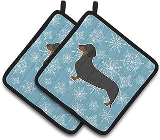 Caroline's Treasures Winter Snowflake Dachshund Pair of Pot Holders BB3482PTHD, 7.5HX7.5W, Multicolor