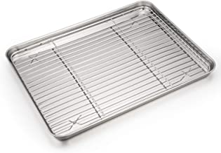 Baking Sheet and Rack Set, P & P Chef Stainless Steel Cookie Sheet Baking Pan Tray with Cooling Rack, Non Toxic & Healthy,...