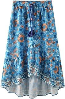 UUYUK Women Boho Floral Print Irregular Hem Elastic Waist Beach Dress