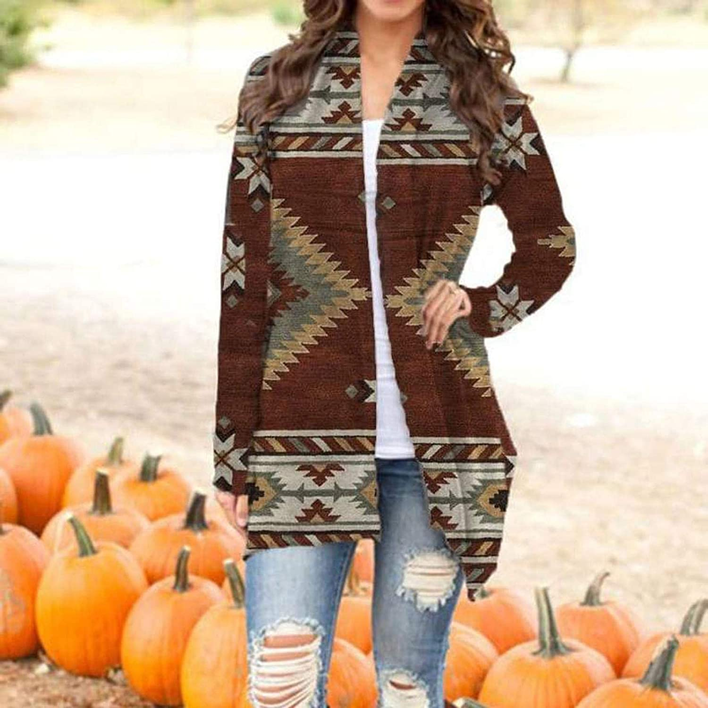 iHENGH Damen Herbst Winter Bequem Lässig Mode Frauen Langarm Leopard Print Mode Mantel Blusen T Shirt Tank Tops Khaki