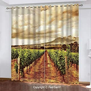 "Best Home Fashion Blackout Curtains Grape Valley Clouds Over Vineyard Natural Fruit Plantation in Autumn Garden Theme Window Treatment Pair for Bedroom(84""X62"")"