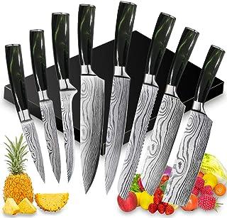 UniqueFire Set de Couteaux de Cuisine, Couteau de Chef, Couteau Japonais en Acier Inoxydable 5Cr15Mov Carbone, Lame de Cou...