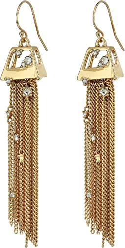 Geometric Tassel Wire with Crystal Detail Earrings