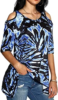 Women Casual Tie Dye Printing Short Sleeve Off Shoulder Round Neck Loose Shirt Top