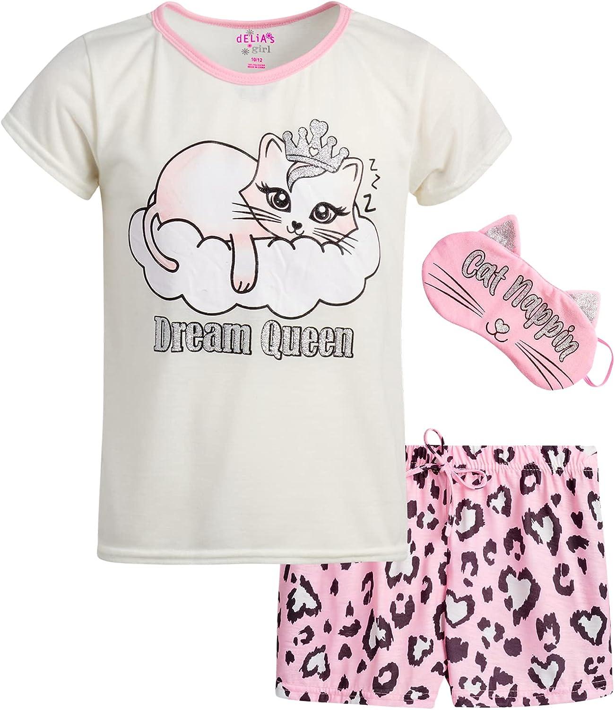 dELiAs Girls' Pajamas - 2-Piece Short Sleeve T-Shirt and Sleep Shorts with Eye Mask Sleepwear Set (Little Girl/Big Girl)