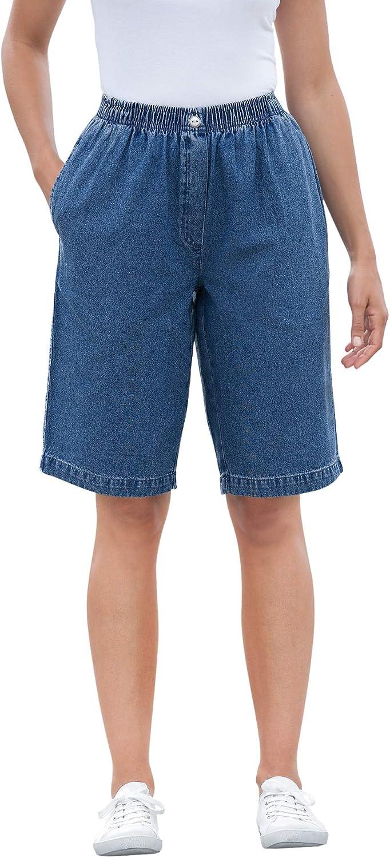 Woman Within Women's Plus Size Elastic-Waist Cotton Short