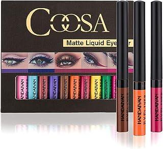 Coosa Matte Colorful Liquid Eyeliner 12Colors Long Lasting Waterproof Eyeliner Professional Bright-colored Eyeliner Pen Se...