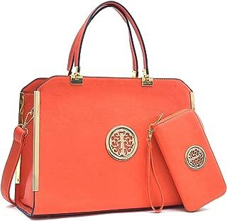Women Large Satchel Handbag Shoulder Purse Top handle Work Bag Tote With Matching Wallet