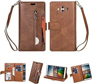 LENASH För Huawei Mate 10 multifunktionell blixtlås horisontellt flip läderfodral med hållare och plånbok & 9 kortplatser ...