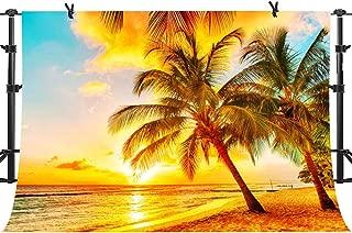 Tropical Beach Backdrops Sunrise Sunset Coconut Trees Photography Backgrounds Vinyl 10x7ft YouTube Portrait Photo Backdrop Art Studio Props PHMOJEN PPH488