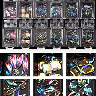 MIOBLET 12 Grid 1 Box Colorful Nail Rhinestones Transparent AB Special-shaped Diamond Marquise Water Drop Oval Shape Glass Stones 3d Glitter Nail Art Decorations Gems Accessories