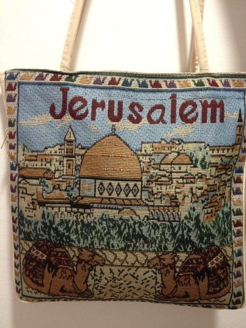 Textile Holy Land Handbag Zipper Purse Zipper Cloth Handmade Jerusalem