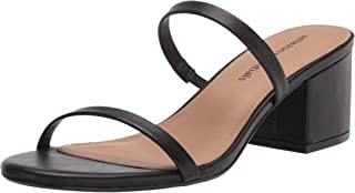 Women's Thin Two Strap Heeled Slide Sandal