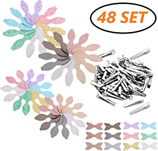 AOUXSEEM Faux Leather Hair Bows DIY Making Kit with Pre Cut Pieces and Hair Clips,Make Fashionable Shiny Hair Clips for Girls Lady Woman Baby (Small & Medium Size,48 Set)