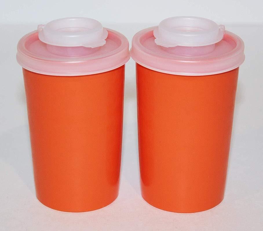Tupperware Vintage Salt And Pepper 5 Ounce Retro Orange Shaker Set Natural Sheer Caps