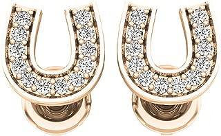 0.10 Carat (ctw) 10K Gold Round White Diamond Ladies Horse Shoe Earrings 1/10 CT