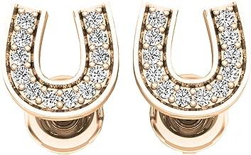 Dazzlingrock Collection 0.10 Carat (ctw) 10K Gold Round White Diamond Ladies Horse Shoe Earrings 1/10 CT
