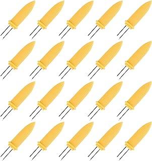 JER Conjunto de 8 Acero Inoxidable titulares de la mazorca de ma/íz con la manija de Madera Barbacoa Accesorios cocinar en casa y Barbacoa
