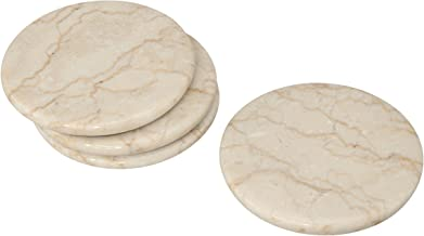 """Creative Home 74698 Natural Champagne Marble Set of 4 Piece Round Coasters, 4"""" Diameter"""