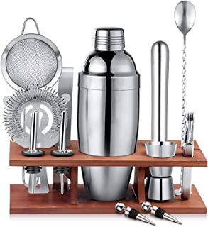 13 Piece Cocktail Shaker Set Bartender Kit with Stand - 750ml Professional Stainless Steel Bar Tool Setfor Drink Mixing,B...