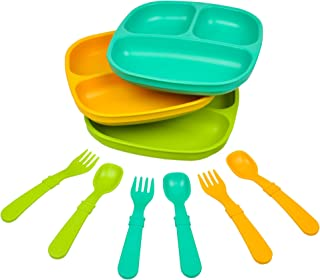 Re-Play Made in The USA Dinnerware Set - 3pk Divided Plates with Matching Utensils Set (Aqua Asst.)