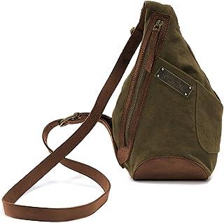 DRAKENSBERG Umhängetasche für Handy, Mini-Handtasche für Geldbörse und Handy, Kimberley-Sling-Bag, 1 L, Canvas und Echt-Büffel-Leder, Cross-Body-Bag, Oliv-grün, braun, DR00152