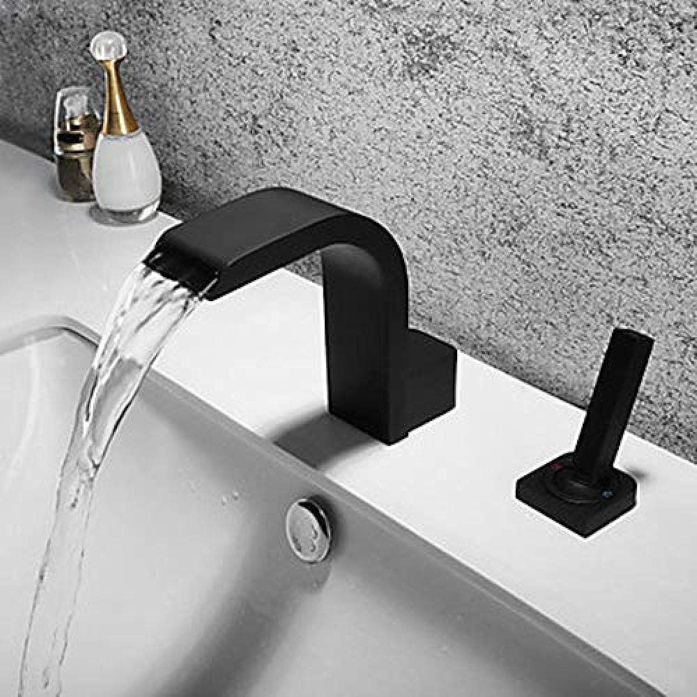 Wasserhahn-Badezimmer-Bassin-Hahn-Wasserfall-Breite Neues Design Schwarzer breiter einzelner Handgriff-doppelter Loch-Hahn