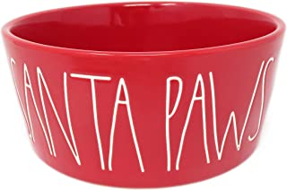 Rae Dunn Magenta Santa Paws Red Ceramic LL Large Pet Food Water Bowl