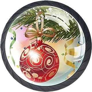 Tiroir Poignées Tirez pour la maison de cuisine commode garde-robe,Boule rouge de Noël