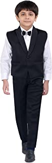 Jeet Creation Boys Black Waistcoat Suit with Shirt, Bow and Trouser Set (6022CR)