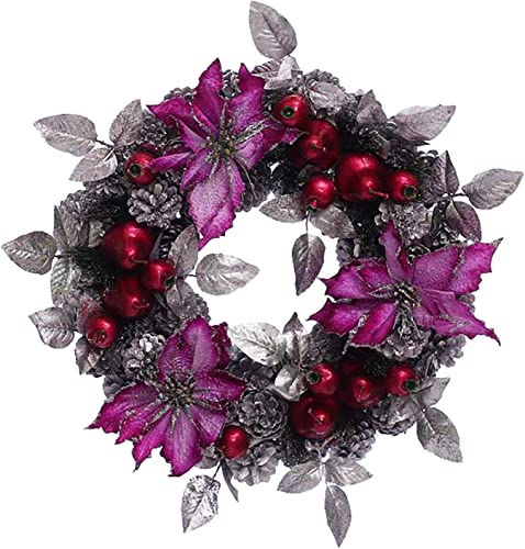 popular 12Inch Artificial lowest Christmas Wreath for Front Door, Pine Cone Wreath Flocked with Berry, Leaf, Ball Decorations, Prelit Xmas Door Wreath, Shop Windows online sale Fireplaces Walls Decor Garland (Purple) sale