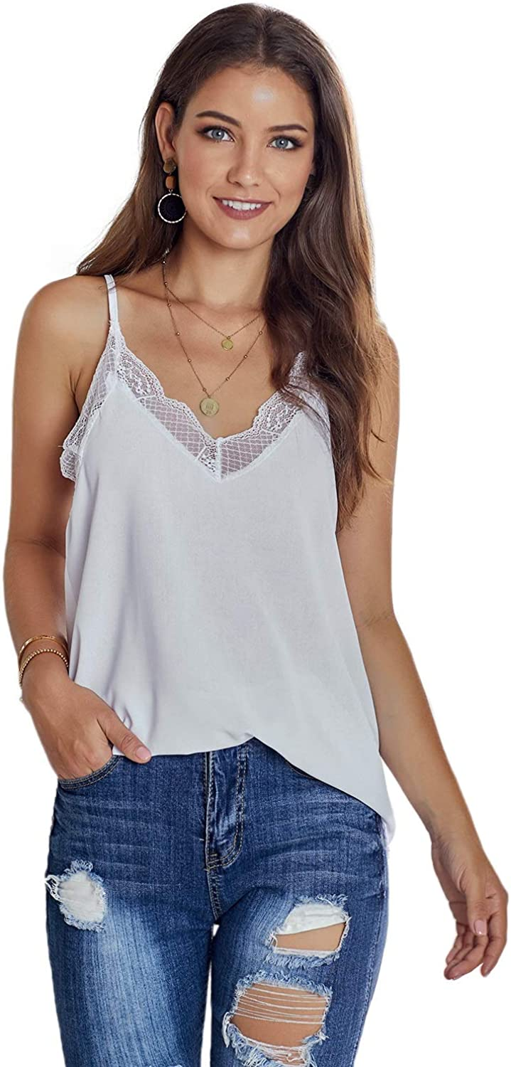 Kevmids Women's Sleeveless Blouses V Neck Lace Casual Tank Tops Pullover T-Shirt
