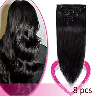 24 Inch Remy Clip in Hair Extensions 100% Human Hair 80g Standard Weft 8 Pcs 18 Clips Straight Hair for Women Beauty Gift Balayage #1 Jet Black