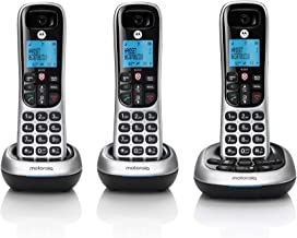 $55 » Motorola CD4013 DECT 6.0 Cordless Phone with Answering Machine and Call Block, Silver/Black, 3 Handsets (Renewed)