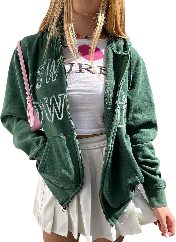 Women Y2K Long Sleeve Oversize Sweatshirt Zip Up Hoodie Harajuku Graphic Print Jacket Vintage Tracksuit With Pockets